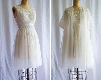 1950s Peignoir Set | Lily | Vintage 50s White Nylon Chiffon Floaty Robe Matching Nightgown Lace Trim Bridal Vanity Fair Lingerie / S Petite