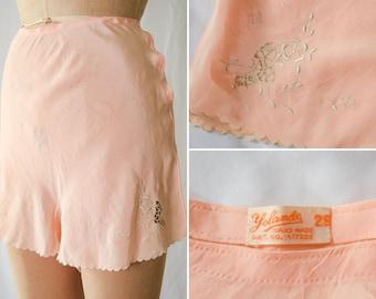 "1930s Tap Pants   Yolande   Vintage 30s Peach Pink Silk Tap Pants Shorts Lingerie Underpinnings Bias Cut with Handwork Embroidery 28"" Waist"