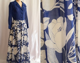 1970s Dress | Blue Floral | Vintage 70's Maxi Dress Shirtwaist Large Blue and White Oversized Floral Border Print Long Sleeves Size M