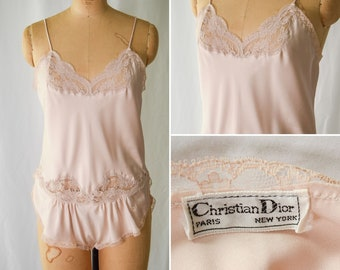 1980s Teddy    Christian Dior   Vintage 80s Pink Sand Satin and Lace Teddy Romper Bodysuit Embroidered Label Sz. M