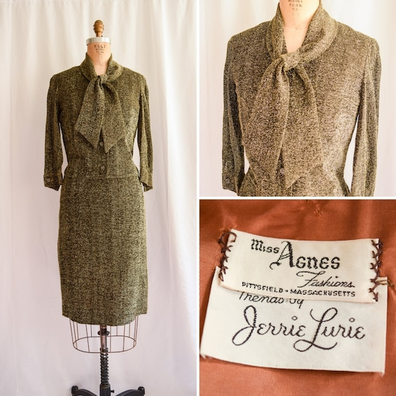1950s Two Piece Set Trends By Jerrie Lurie Vintage 50 S Black And Gold Lurex Shimmer Glitter Pencil Skirt Suit Pussy Bow Cocktail Sz S M