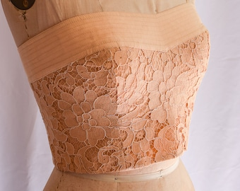 1980s Bustier | Carmelo Pomodoro | Vintage 80's Strapless Top Peachy Beige Alencon Lace Top with Linen Band Topstitching 80s Designer Size S