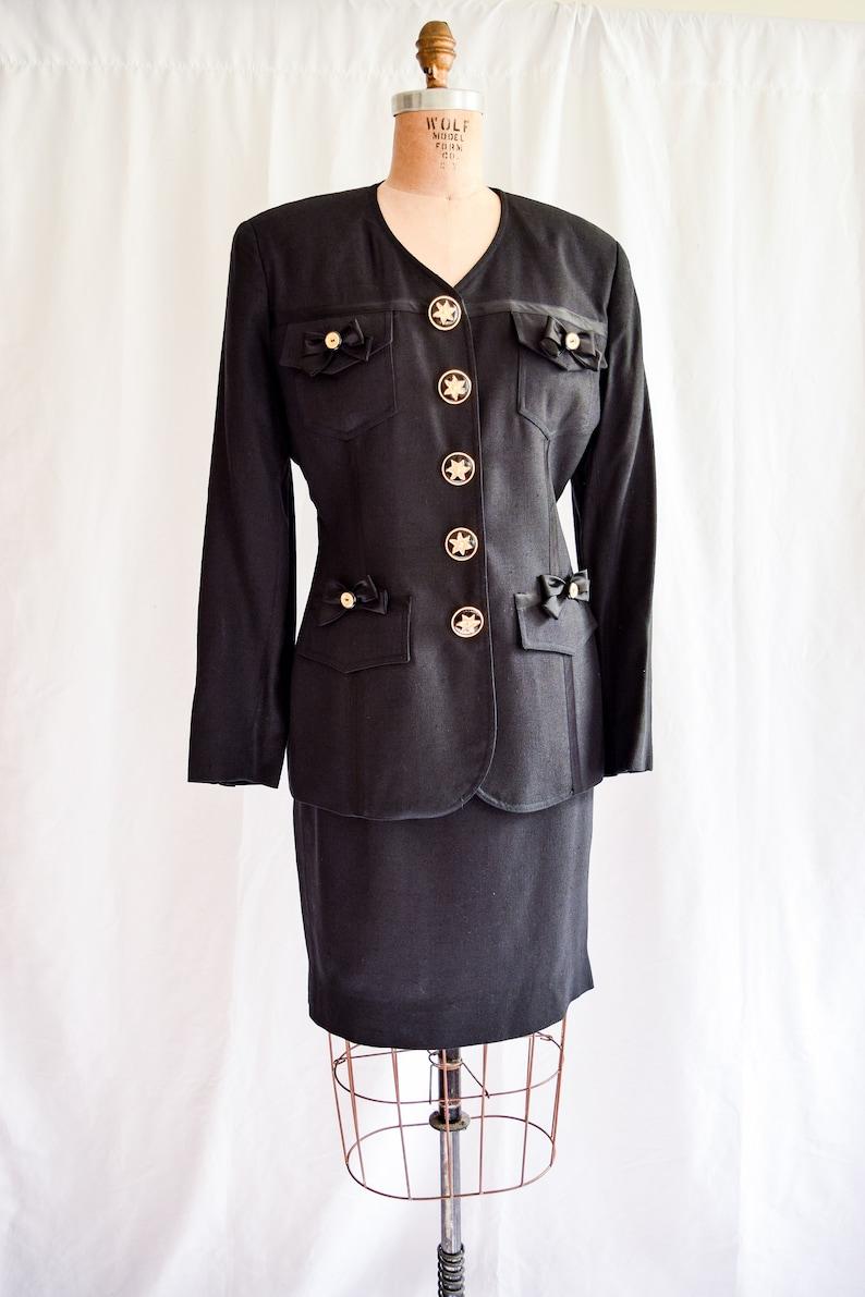 a86ba21bd39 1990s Suit Gemma Kahng Vintage 90 s Designer Black