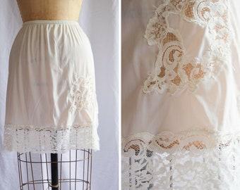 Vintage 1960s Half Slip | Kayser | White Nylon Tricot Petticoat Lace Trim and Border Side Slit Mini Skirt Slip 60s Lingerie Size S