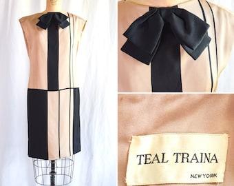 1960s Dress   Teal Traina   Vintage 60s MOD Color Blocked Silk Shift Mini Dress Large Bow Shoulder Flanges Black and Tan Sz. M