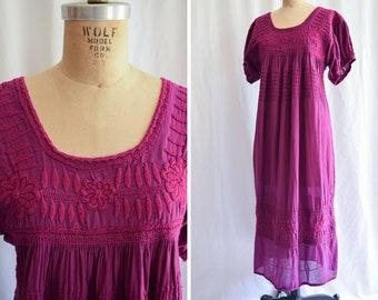 Mexican Dress | Bonita | Vintage 1970's Puebla Dress Hand Embroidered Boysenberry Cotton Gauze Full Length Floral Maxi Dress Size L