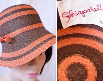 Schiaparelli   RARE Vintage 1960s Hat Striped Orange and Brown Genuine Milan Brimmed Hat Chapeau Topper Designer Sun Hat Mint Condition