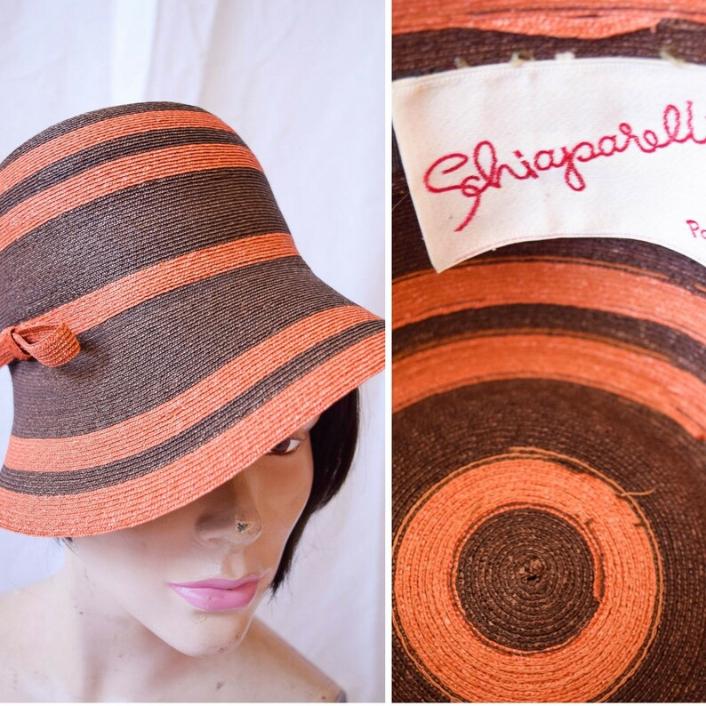 3b3e4a81 Schiaparelli RARE Vintage 1960s Hat Striped Orange and Brown | Etsy