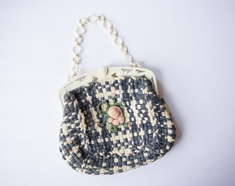 1930s Purse | Pink Rosette | Vintage 30s Charcoal Gray and Ivory Woven Handbag Celluloid Floral Hinge and Chain Handle Rose Center