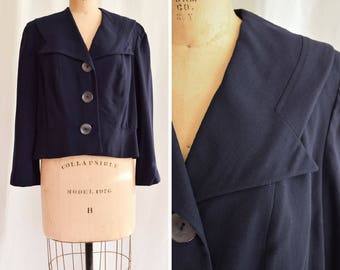 1950s Jacket   Barbara Lee   Vintage 50s Navy Sailor Style Virgin Wool Jacket Wide Notched Collar and Large Buttons Forstmann Wool Size M