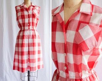 1960s Dress | Serbin | Vintage 60s Gingham Shirtwaist Red White Large Checks Sleeveless Cotton Summer Dress with Pockets B. Altman Size L