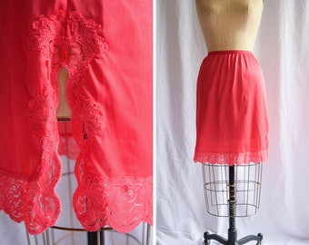 Vintage 1960s Half Slip | Kayser | Red Nylon Tricot Petticoat Lace Trim and Border Side Slit  60s Lingerie Size M/L