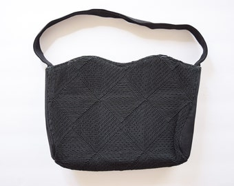 1940s Purse | Twilight Zone | Vintage 40s Black Corde Zippered Shoulder Bag Crocheted Diamonds Gimp Purse WWII Era Ration Fashion