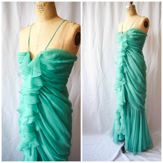 Travilla Vintage 1970s Evening Gown Cascading Ruffles Mint   Etsy