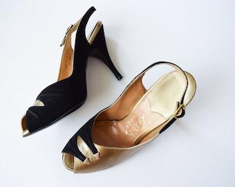 1950s High Heels | La Rose | Vintage 50s Slingback Sandals Black Suede Gold Leather Open Toe Stilettos Hand Fashioned MINT Condition Sz 5.5