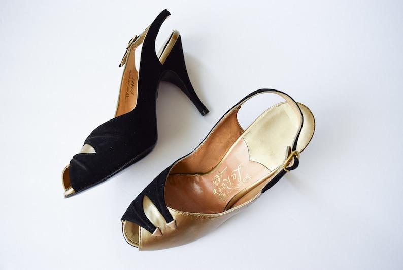 2a5ecd7c4209 1950s High Heels La Rose Vintage 50s Slingback Sandals