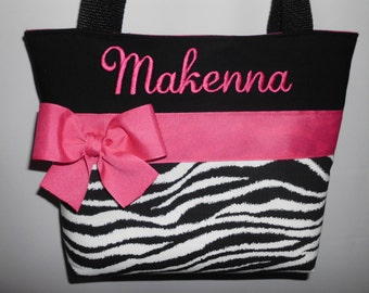 1db0461e27ed ZEBRA Child Size Bag.. . GIRL Purse ... Hot Pink Accents ... Monogrammed  FReE