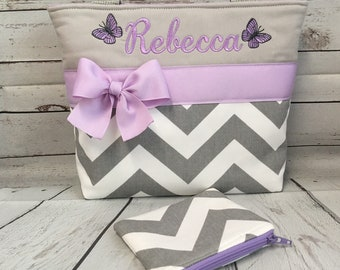 Monogrammed  FReE Child Size  Bag and Coin Pouch . GiRL  Purse  .. Zoom  CHEVRON  .. Gray ..