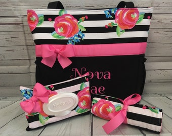 Floral Stripes ... Diaper Bag SET  ... Personalized Free .. Zipper Available