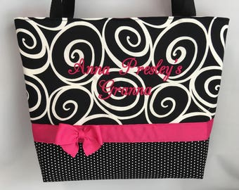 BLACK Swirls and DOTS ... You choose Accent Color ...  Tote ... Diaper Bag .. Zipper Available