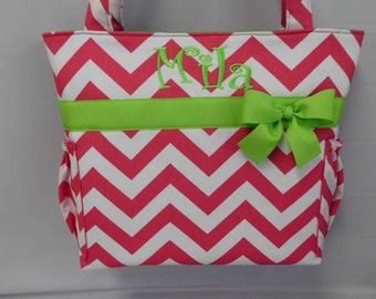 New....CHEVRON  in Hot PINK ..  LIme Green Accents  ...   Diaper Bag .... TOTE .. Bottle Pockets ... Monogrammed  FReE