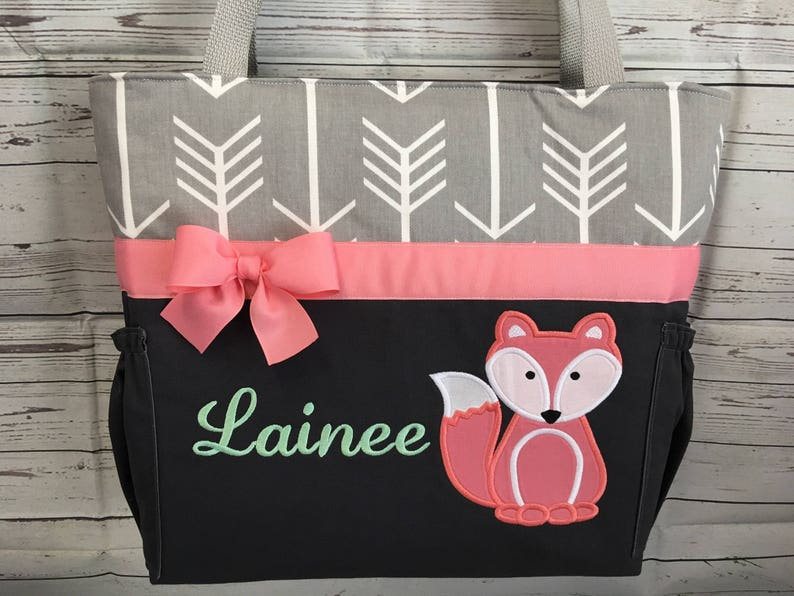 Personalized Free Bottle Pockets .. FOX in CORAL .. DIAPER Bag Set . FoXES . Applique  ..