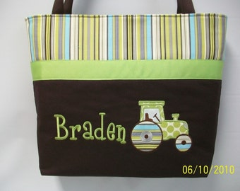Appliqued TRACTOR  Diaper bag AMY BUTLeR Personalized FREE