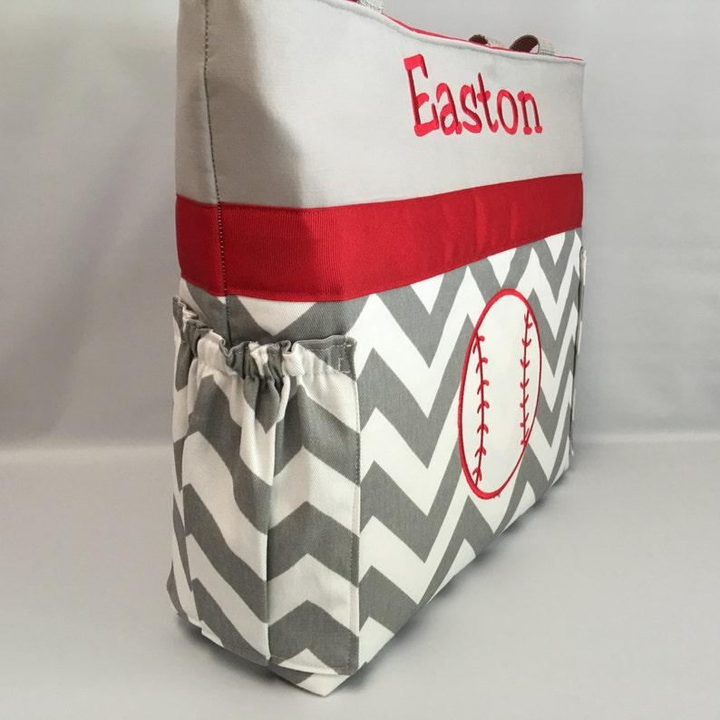 Diaper Bag  .. Gray  CHEVRON .. ToTE .. BASEBALL .. Personalized FREE