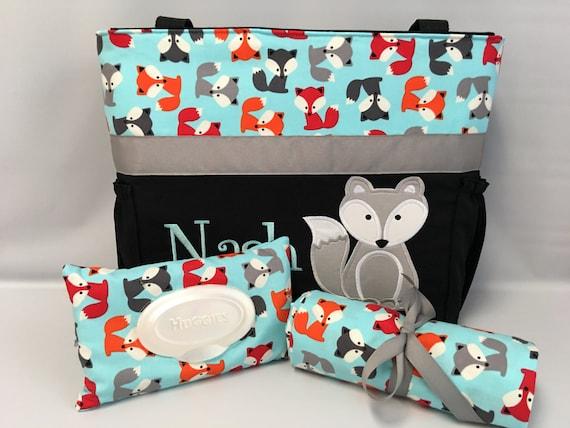 DIAPER Bag . Applique  .. Bottle Pockets .. NAVY  Orange   . Personalized Free FOX ..