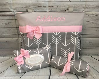 ARROWS in GRAY  Diaper Bag .. Changing Pad  ...  WIPE Cover Set ... You choose accent color