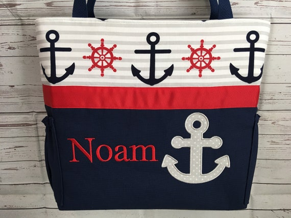 Nautical navy gray stripe personalized diaper etsy