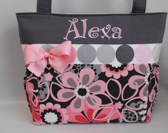 FLOWER Shower PINK and Gray Floral ...   Diaper Bag ... Personalized FREE