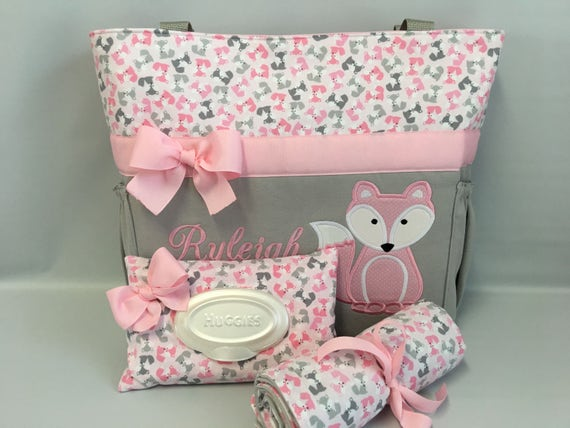 Fox pink urban zoologie foxes diaper bag set etsy