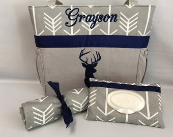 ARROWS and DEER  ...  Diaper Bag .. Changing Pad  ...  WIPE Cover Set ... Gray and Navy