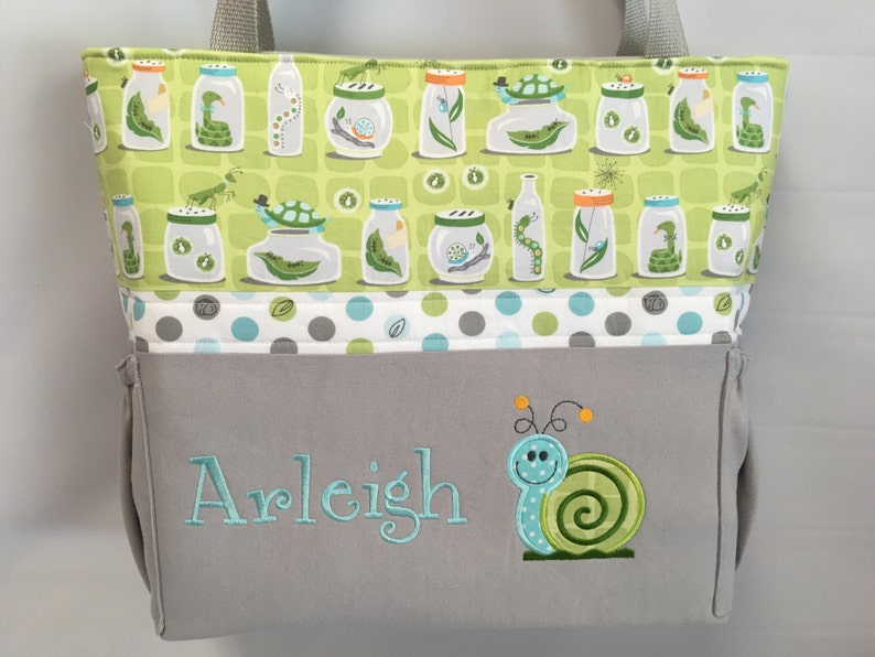 Applique   .. Personalized Free . Bottle Pockets . SNAIL  . BUGS in Jars . Zipper Closure Available DIAPER Bag .