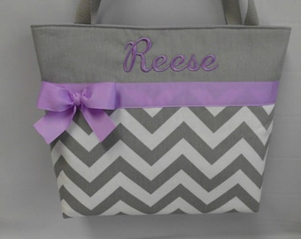 CHEVRON  in Gray .. ..Light  PURPLE  Accents  ...   Diaper Bag... Tote  ... Monogrammed  FReE