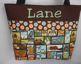 Retro FOREST ... Tote .. Diaper Bag .. Personalized Free