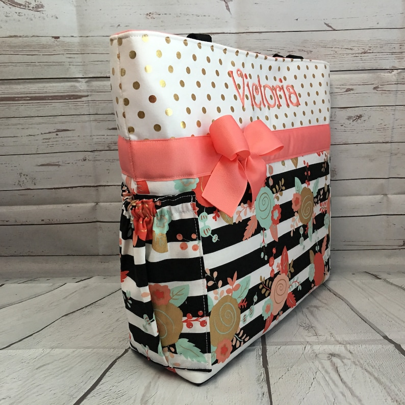 Zipper Available TOTE .. Vintage Roses .. GOLD Roses  Dots and Stripes .. Diaper Bag  SET.. Personalized Free ...