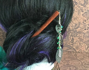 beaded wood hair stick - woodland leaves hair stick with green bead accents, hair pick, shawl pin