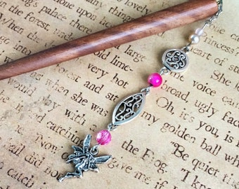 beaded wood hair stick - pink faerie hair stick, hair pick, shawl pin, pink and silver