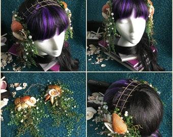 mermaid headdress - metallic colours, shell hair clips, shell headdress, faerie headdress, mermaid costume, dance headdress, festival wear