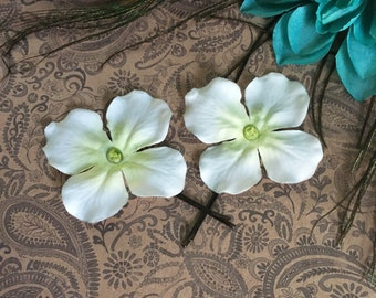 faerie flower hair pins - 2 white flower bobby pins w/rhinestone centres, jumbo brown pins