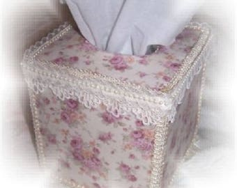 """Country Cottage CHIC Lt Purple Rose Florals TISSUE COVER 5"""" Square Gift"""