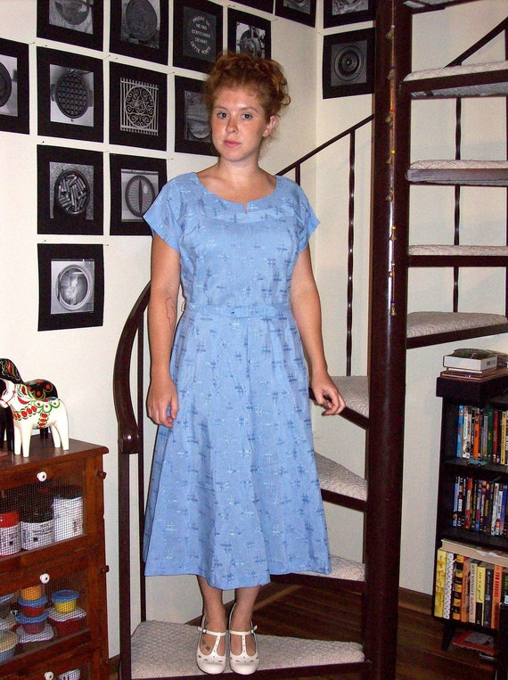 Vintage sky blue deadstock day dress - large