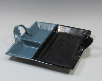 Appetizer Tray - Olive Dish - Platter - Dip and Chips Tray - Cheese Tray - Sushi Server - Black and Blue Tray - Dresser Valet - Trinket Tray