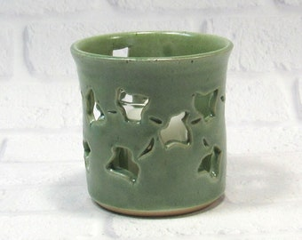 Green Flower Vase - Votive Candle Holder - Pencil Holder - Ceramic Pencil Holder - Pottery Sponge Holder - Candle Holder - Kitchen accessory