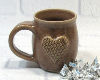 Ceramic Pottery Mug - Heart Mug - Sweetheart Mug - Ceramic Coffee Cup - Ceramic Mug - Tea Mug - Wedding Favor