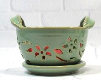 Berry Bowl and saucer Set - Fruit Bowl - Handmade Pottery