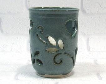 Tealight Candle Holder - Pencil Holder - Handmade Pottery