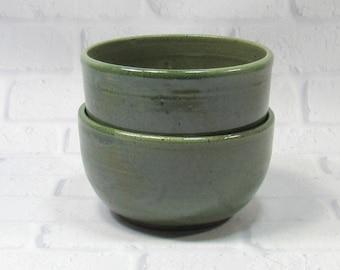 Pottery Bowls - Soup Bowls - Rice Bowls - Set of 2 Bowls - Ceramic Noodle Bowls - Ramen Bowls - Blue Dip Bowls - Appetizer Dip Bowls
